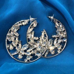 Jewelry - Brand new silver tone crystals hoop earrings